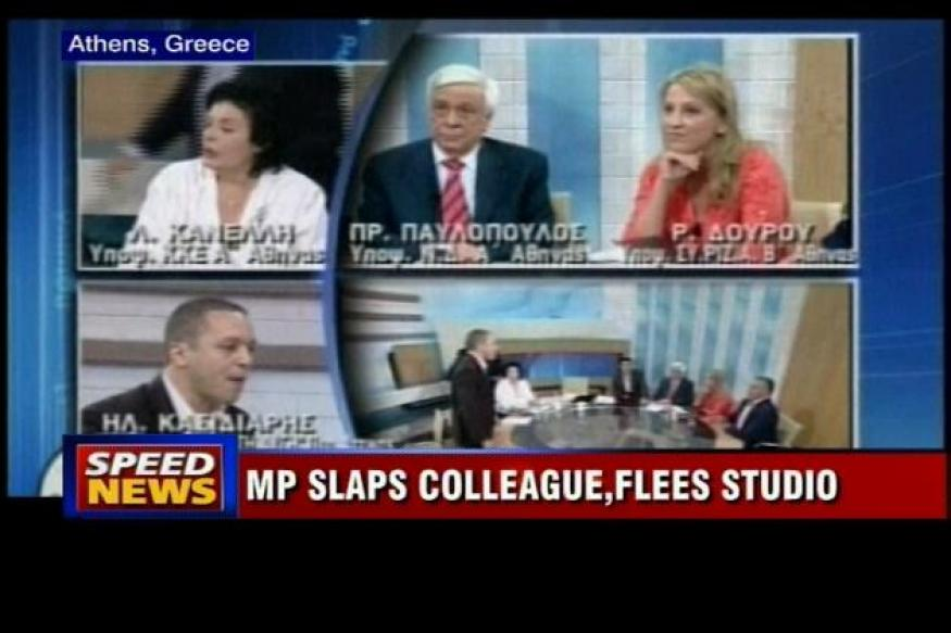 Greece politician assaults 2 others on live TV