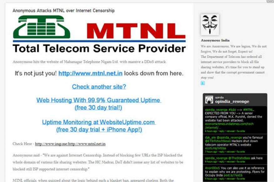 Anonymous hackers take down MTNL website