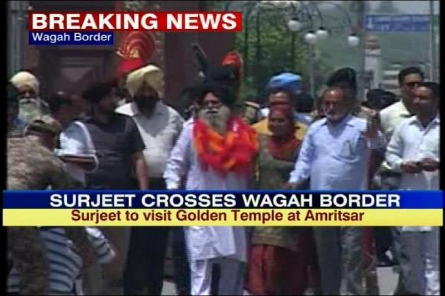Surjeet Singh crosses Wagah, arrives in India
