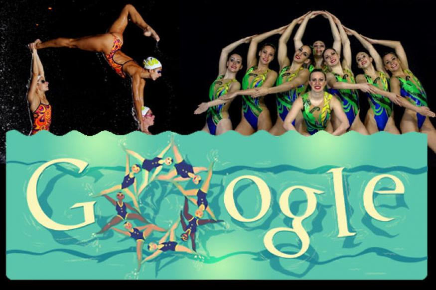 London 2012 synchronised swimming Google doodle