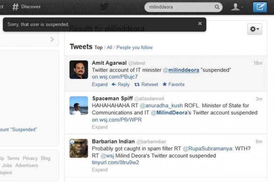 Milind Deora's Twitter account 'suspended'?