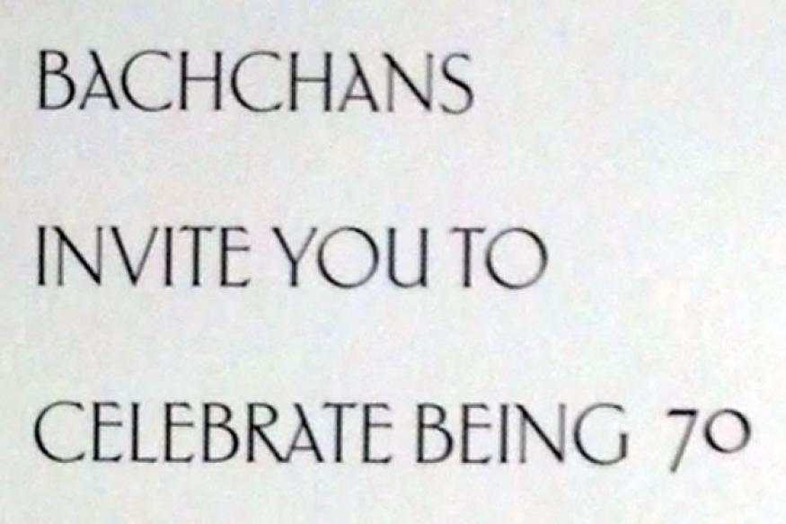 Amitabh Bachchan's 70th birthday party invite