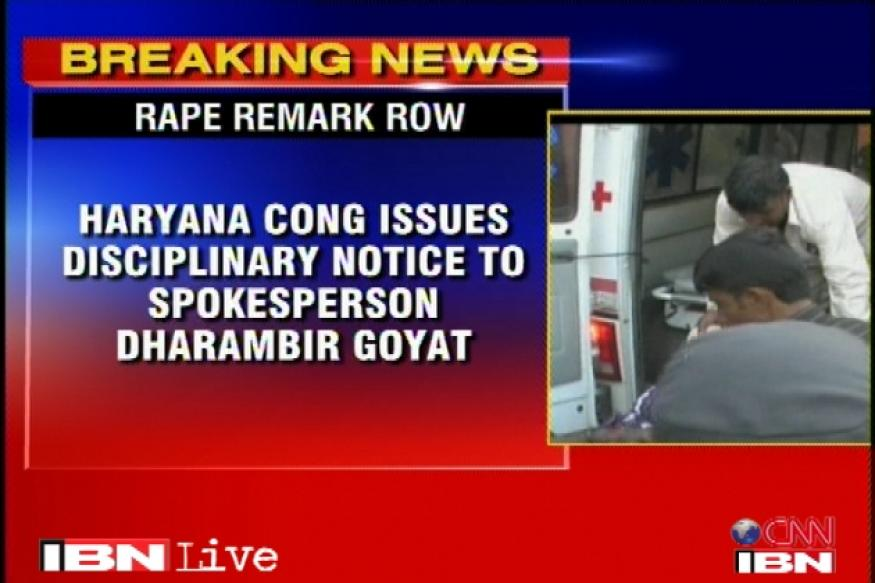 Congress pulls up Haryana leader over rape comment