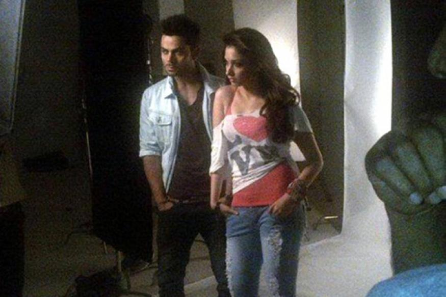 Tamannah and Virat Kohli shoot for a TV commercial