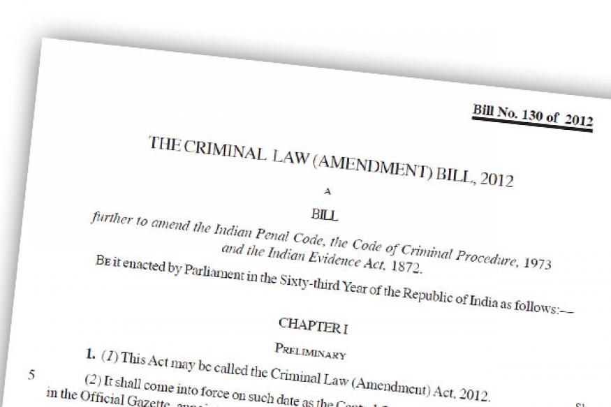 Full text: The Criminal Law (Amendment) Bill, 2012