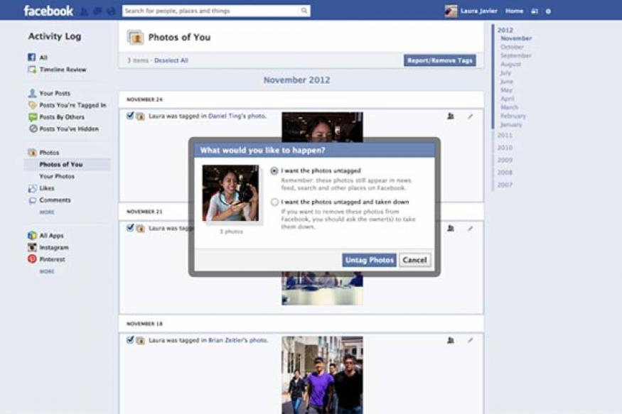 Facebook now lets you untag multiple photos at once