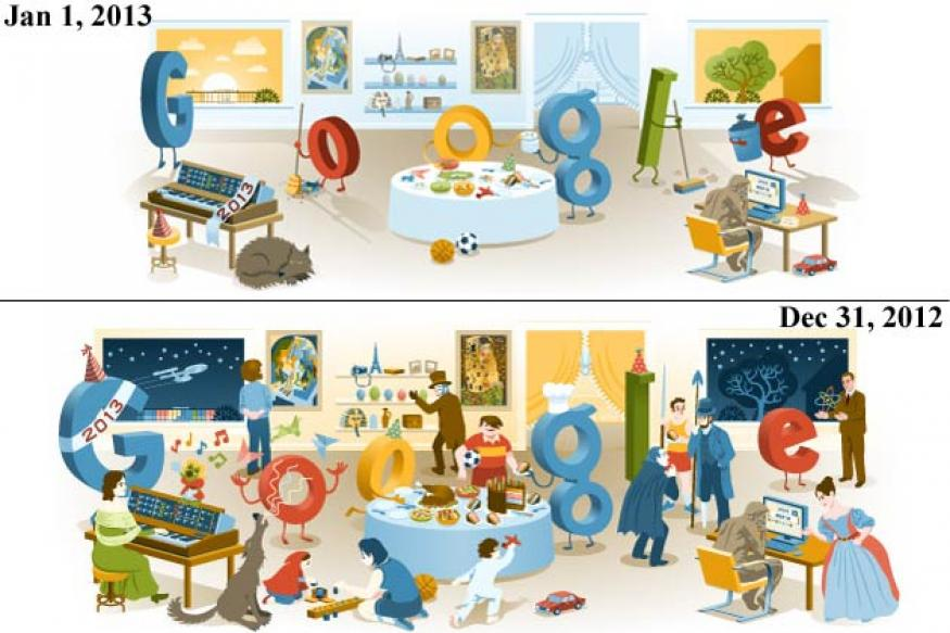 New Year's Day 2013: Google posts a New Year doodle