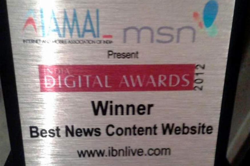 IBNLive.com wins India Digital best news website award