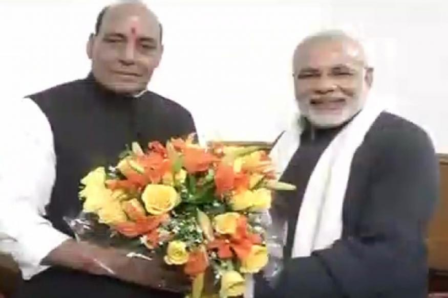Narendra Modi meets Rajnath Singh, congratulates him