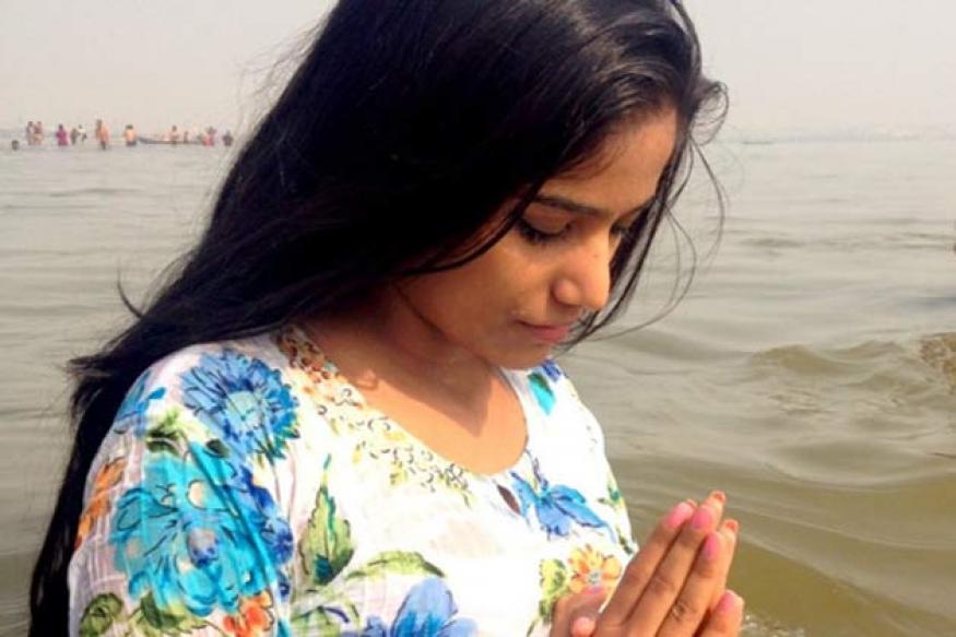 Snapshot: Poonam Pandey takes a dip at Maha Kumbh