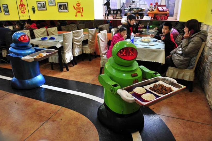 A Chinese restaurant where robots cook and serve food