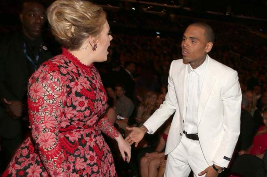 Is Adele yelling at Chris Brown in this photo?