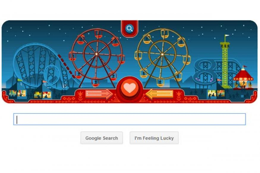 Google celebrates George Ferris' 154th birthday, Valentine's Day with a two-in-one doodle
