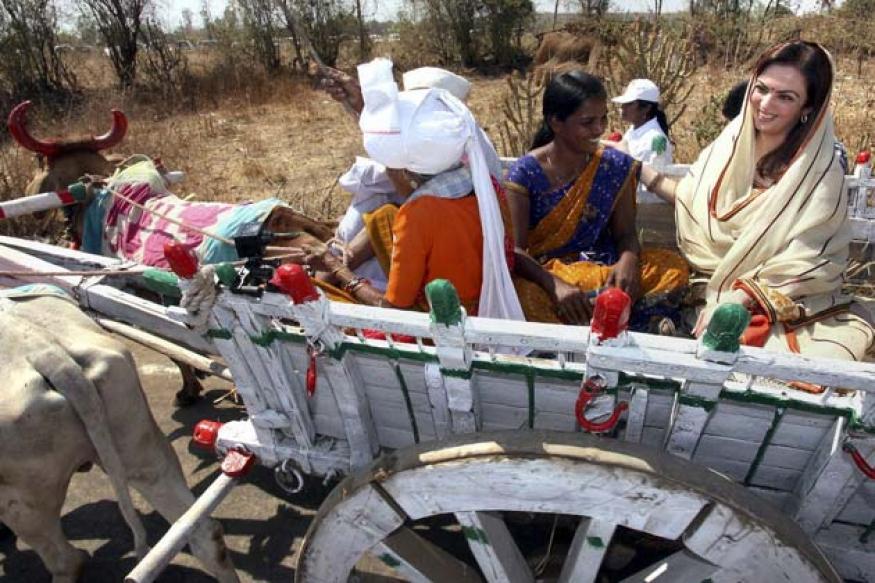 Snapshot: Nita Ambani takes a bullock cart ride!