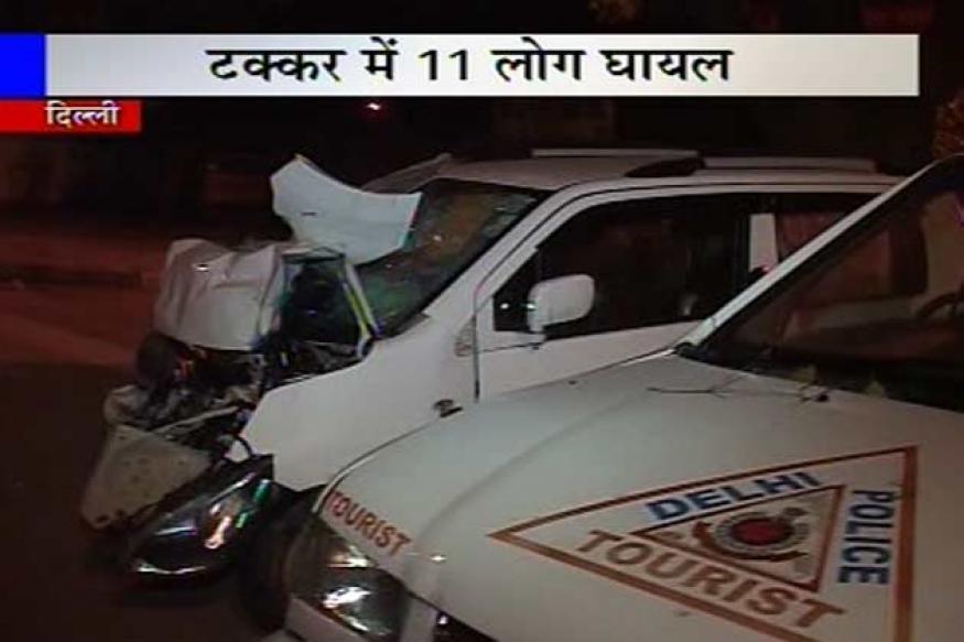 Delhi: 8 people, 3 policemen injured as car rams into PCR van