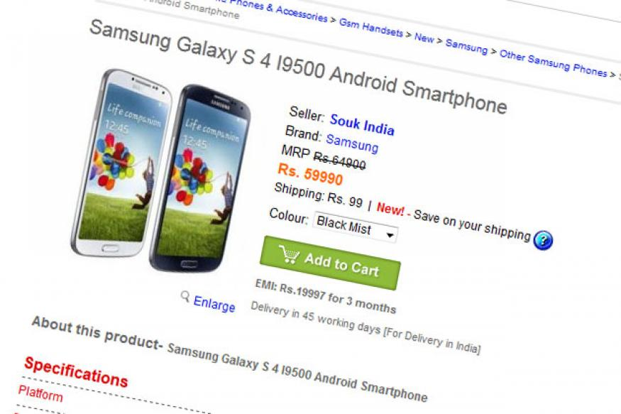 Samsung Galaxy S4 available online for pre-order at Rs 59,990