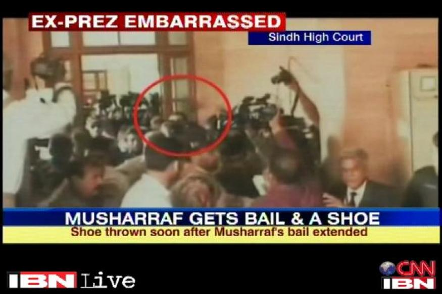 Shoe hurled at Pervez Musharraf outside Sindh HC