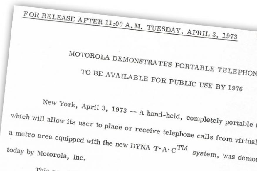 Mobile phone turns 40: Motorola press release from April 3, 1973