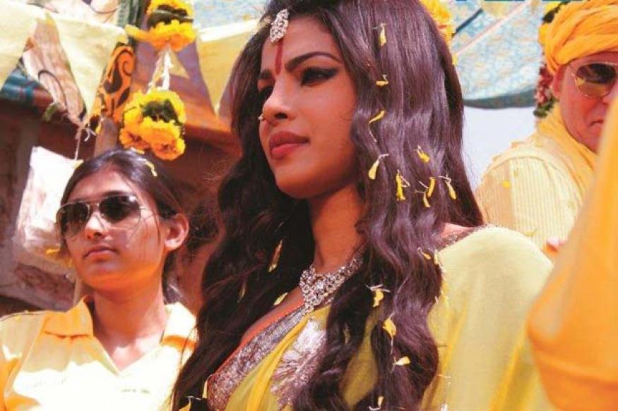 Snapshot: Red tilak, saffron sari; Priyanka Chopra's strange IPL look