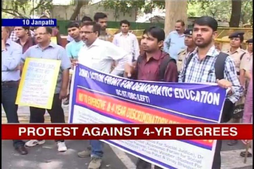 DU teachers protest at Sonia's home over 4-yr undergraduate programme