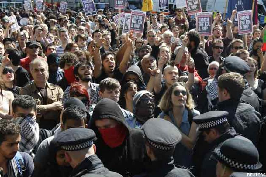 Protesters rally in London over beheading of soldier