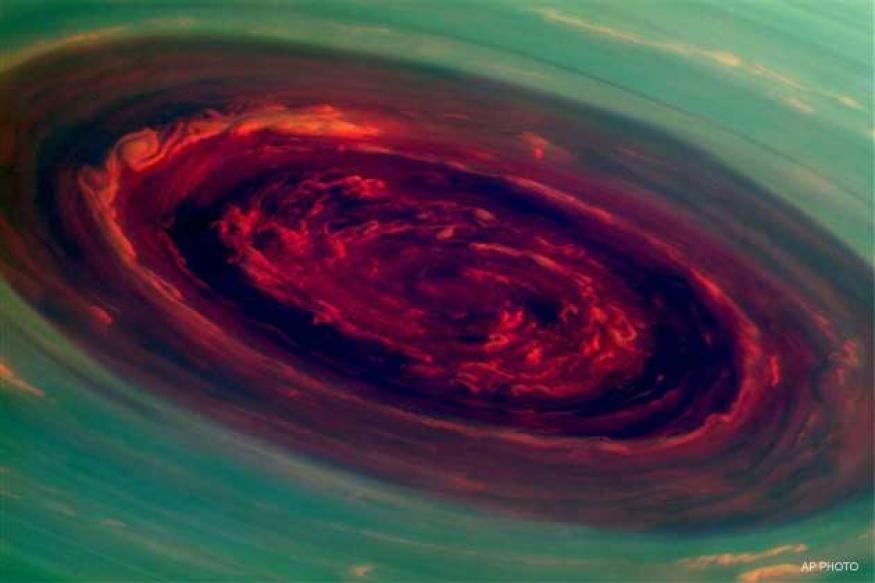 NASA gets close-up views of large hurricane on Saturn