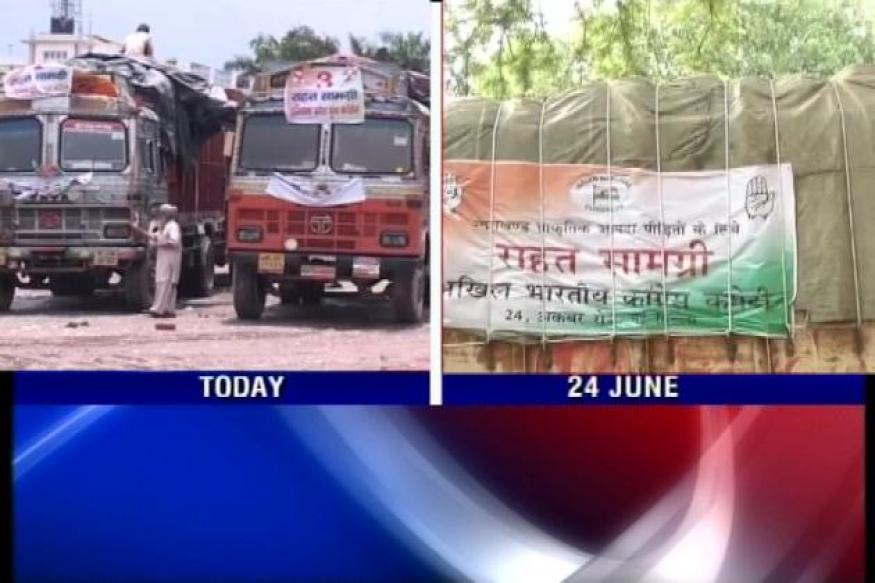 Uttarakhand: Relief trucks flagged off by Sonia stranded