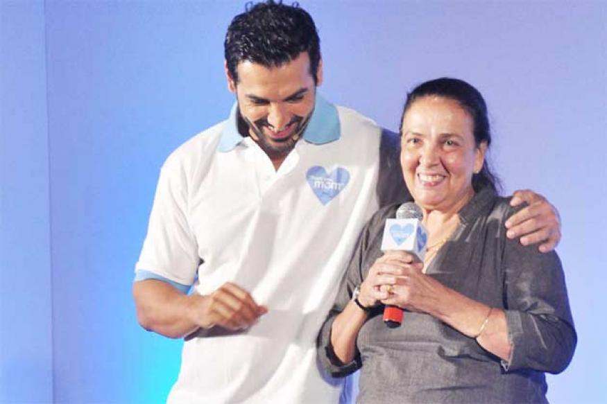 Snapshot: John Abraham plays basketball with his very fit mother