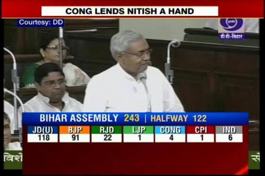 Bihar CM Nitish set to win trust vote as Congress lends a helping hand