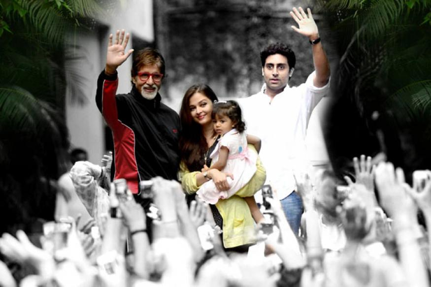 Aaradhya joins grandfather Amitabh Bachchan to greet fans at Jalsa