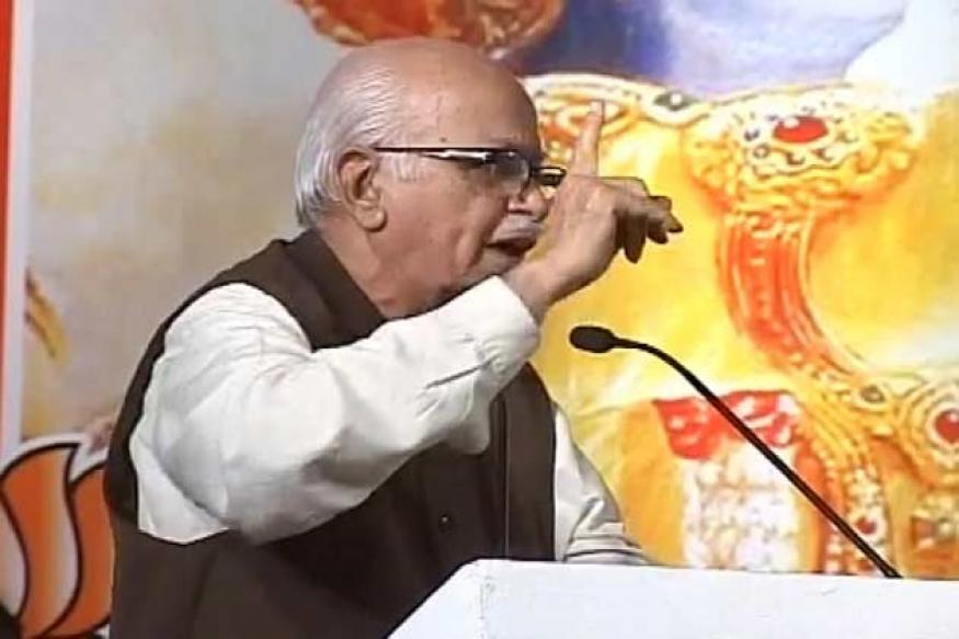 Modi, Advani and Rajnath Singh seen together at a public meet