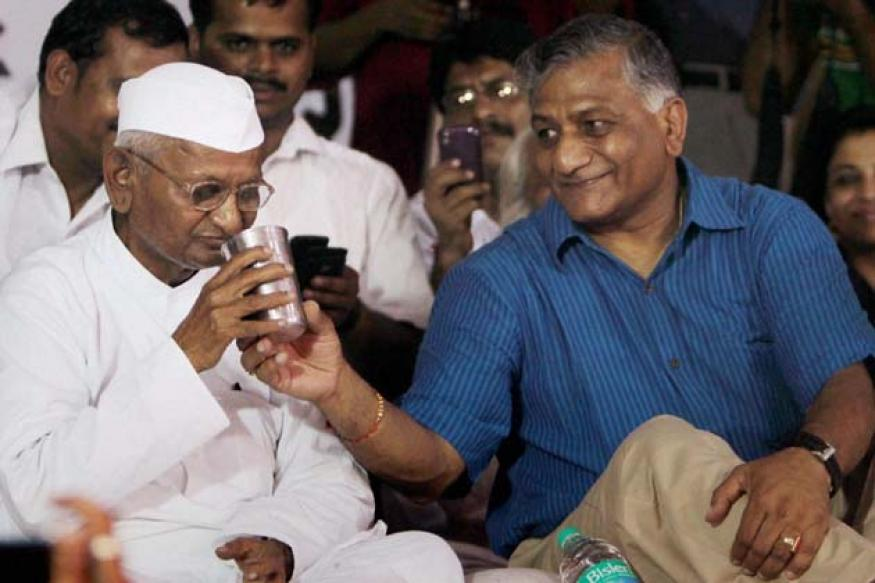 VK Singh meets Anna Hazare, clears air over joining BJP