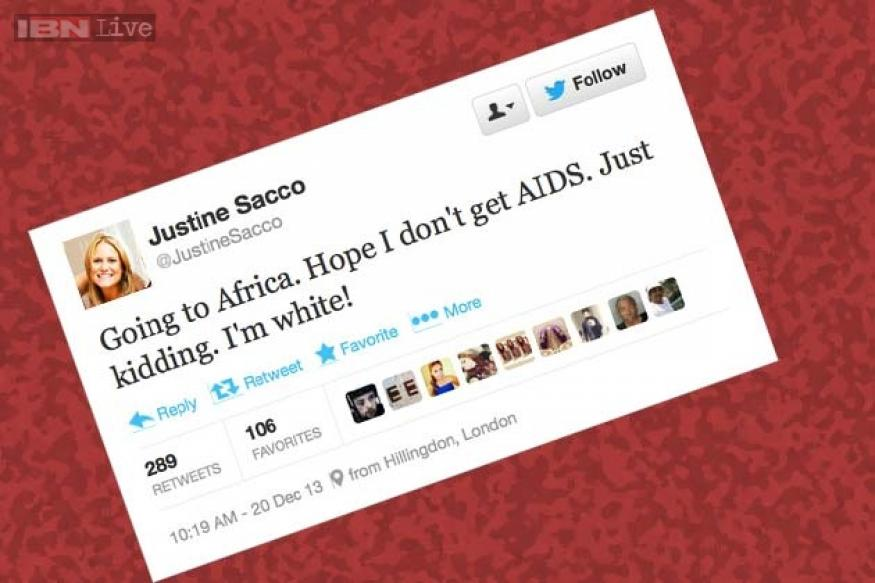Prominent PR professional Justine Sacco tweets unbelievably racist comment, faces online anger