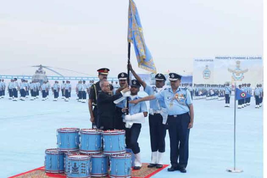 Snapshot: President awards standard, colours to IAF units