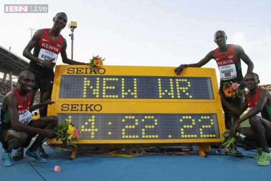 Kenyan men break 4x1500 metres relay world record