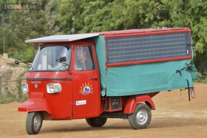 Indian engineer prepares a solar-electric autorickshaw; plans to drive it all the way to London