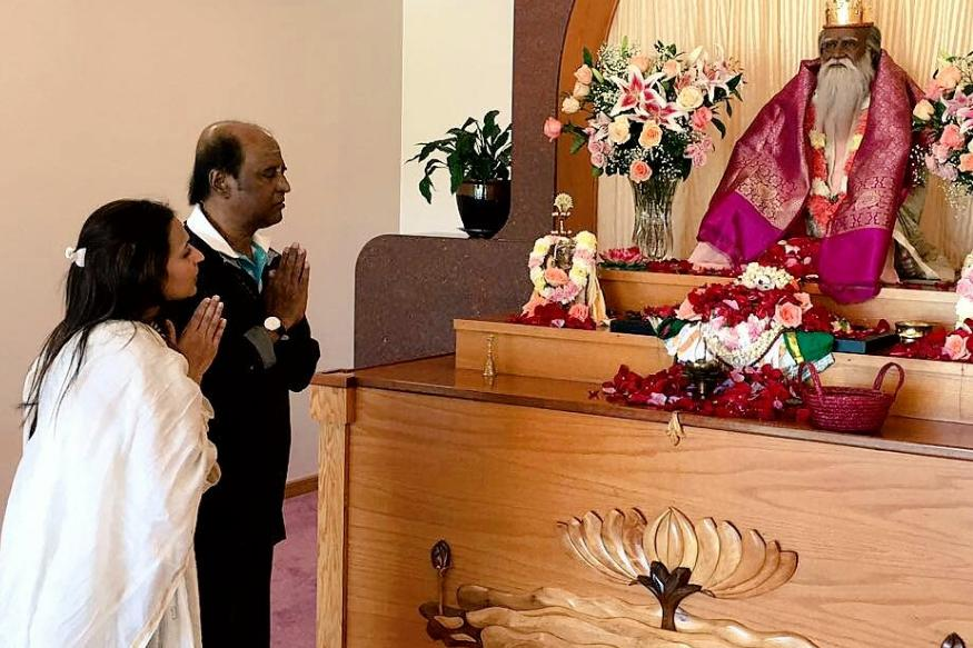 Rajinikanth, Daughter Aishwarya Visits Satchidananda Ashram in Virginia