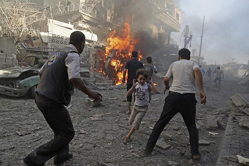 Dozens of worshippers killed during air raid on mosque near Aleppo