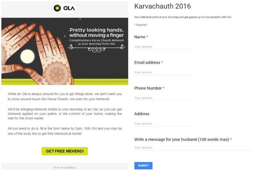 Karva Chauth 2016 : Ola Offers Free Mehendi, Here's How To Avail It
