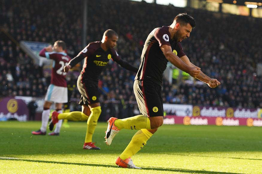 EPL: Sergio Aguero Double Leads Manchester City to 2-1 Win at Burnley