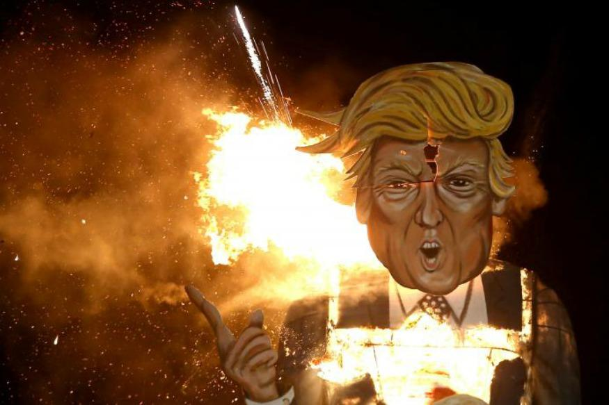 'You're Fired' - Trump Effigy Feels The Heat On UK Bonfire Night