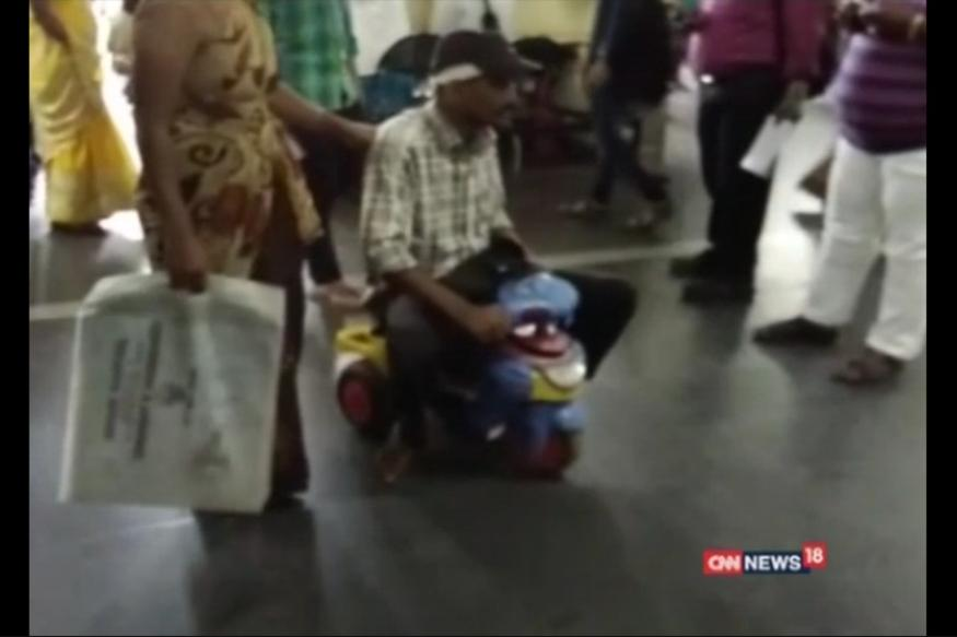 Unable to pay for wheelchair, man uses child's tricycle in Telangana's hospital
