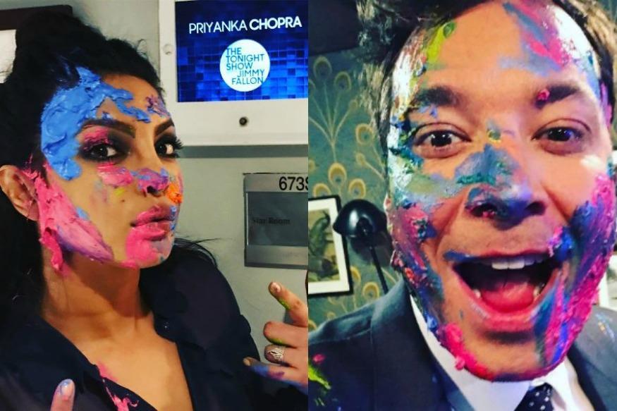 Priyanka Chopra Celebrates Holi With Talk Show Host Jimmy Fallon